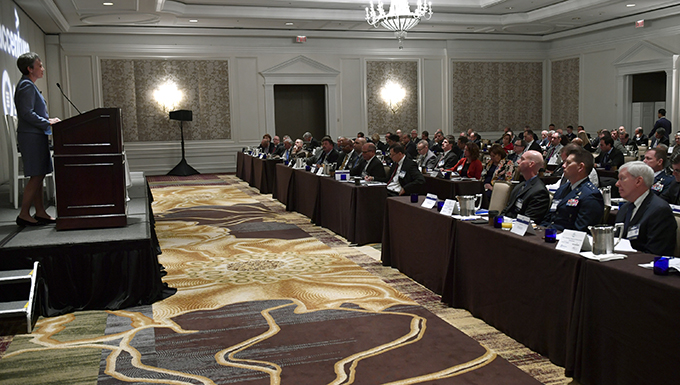 Secretary of the Air Force Heather Wilson speaks at the Space Innovations Programs and Policies Summit, McLean, Va., Oct. 18, 2017. Wilson highlighted space as a contested domain, emerging threats and investments in future space operations. (U.S. Air Force photo by Wayne A. Clark)